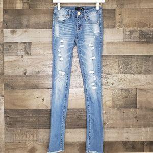 Destroyed Cuffed Ankle Skinny Jean 1822 Denim